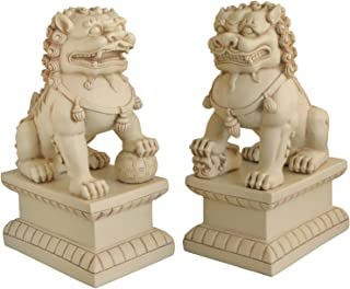 Cultural Element Asian Foo Dogs Garden Pair Statue with Stone Finish | Pair of Two Guardian Lions | Garden Decor | Indoor ...