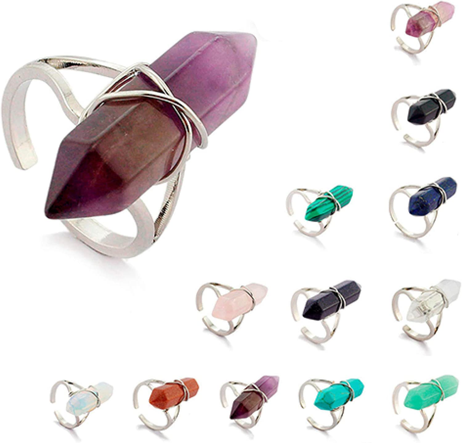 Knuckle Rings for Women Stackable Rings,Women Healing Chakra Synthetic Crystal Stone Hexagonal Wire Opening Finger Ring ,Exquisite Finger Rings Jewelry for Love