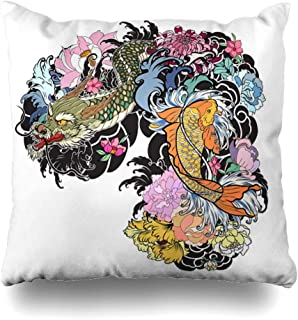 Ahawoso Throw Pillow Cover 20x26 Inch Hand Painting Drawn Dragon Koi Wave Beautiful White Fish Flower Set Animals Color Wildlife Nature Decorative Zippered Pillowcase Home Decor Cushion Case