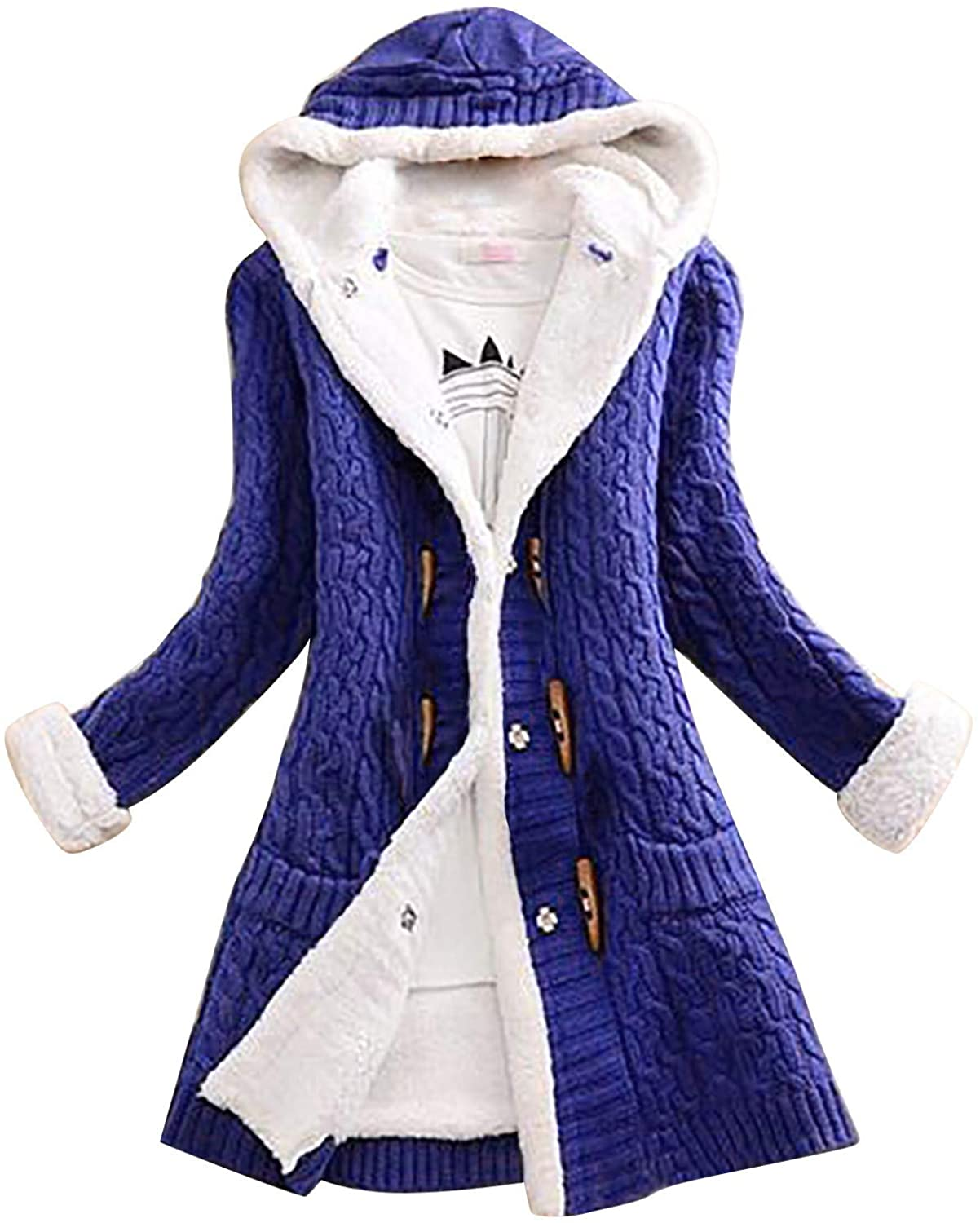 Plus Size Coat for Women Hooded Warm Jacket Horn Button Knit Cardigan Winter Mid Length Sweater with Pocket