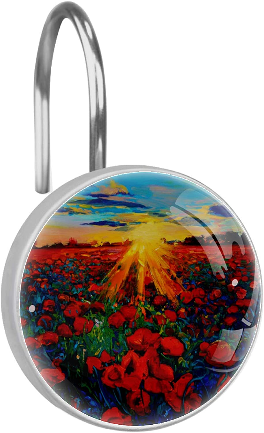 Wholesale Sunset Poppy Flowers High quality new Shower Curtain Double Hooks Sh Rings Glide