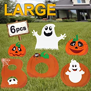 Pawliss Halloween Decorations Outdoor, Extra Large 6ct Boo Pumpkins Ghost Corrugate Yard Signs with Stake, Family Friendly Trick or Treat Party Plastic Décor