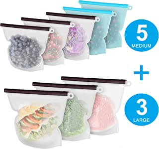 Reusable Silicone Food Storage Bags, 8 Pack(3xLarge & 5xMedium) Airtight Seal Preserving Food Bags for Sandwich/Sous Vide/Liquid/Snack/Lunch/Fruits/Meat, Freezer Storage, Microwave, Dishwasher Safe