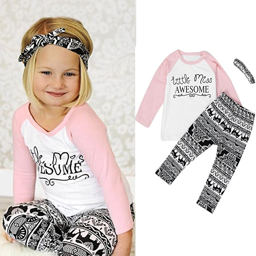 Vovotrade Adorable Cute Toddler Baby Kids Girls Clothes T-shirt Pants Leggings Headband 3PCS Outfits Set