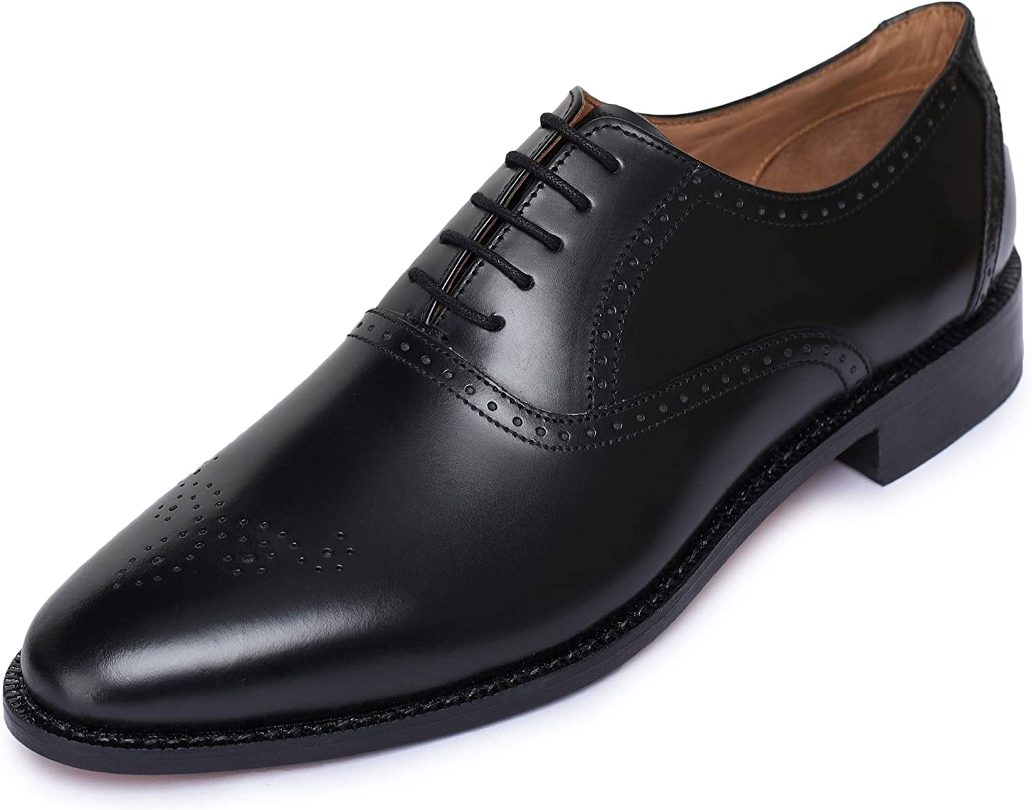 Lethato Handmade Brogue Oxford Goodyear Welted Genuine Leather Lace up Dress shoes