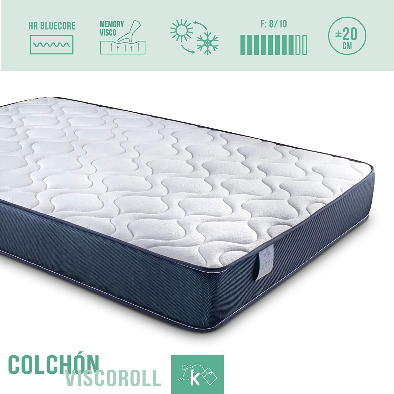 Dreaming Kamahaus Pack Colchón Viscoelástico + Somier 30x30mm | 135 x 190 cm. | Patas Incluidas |