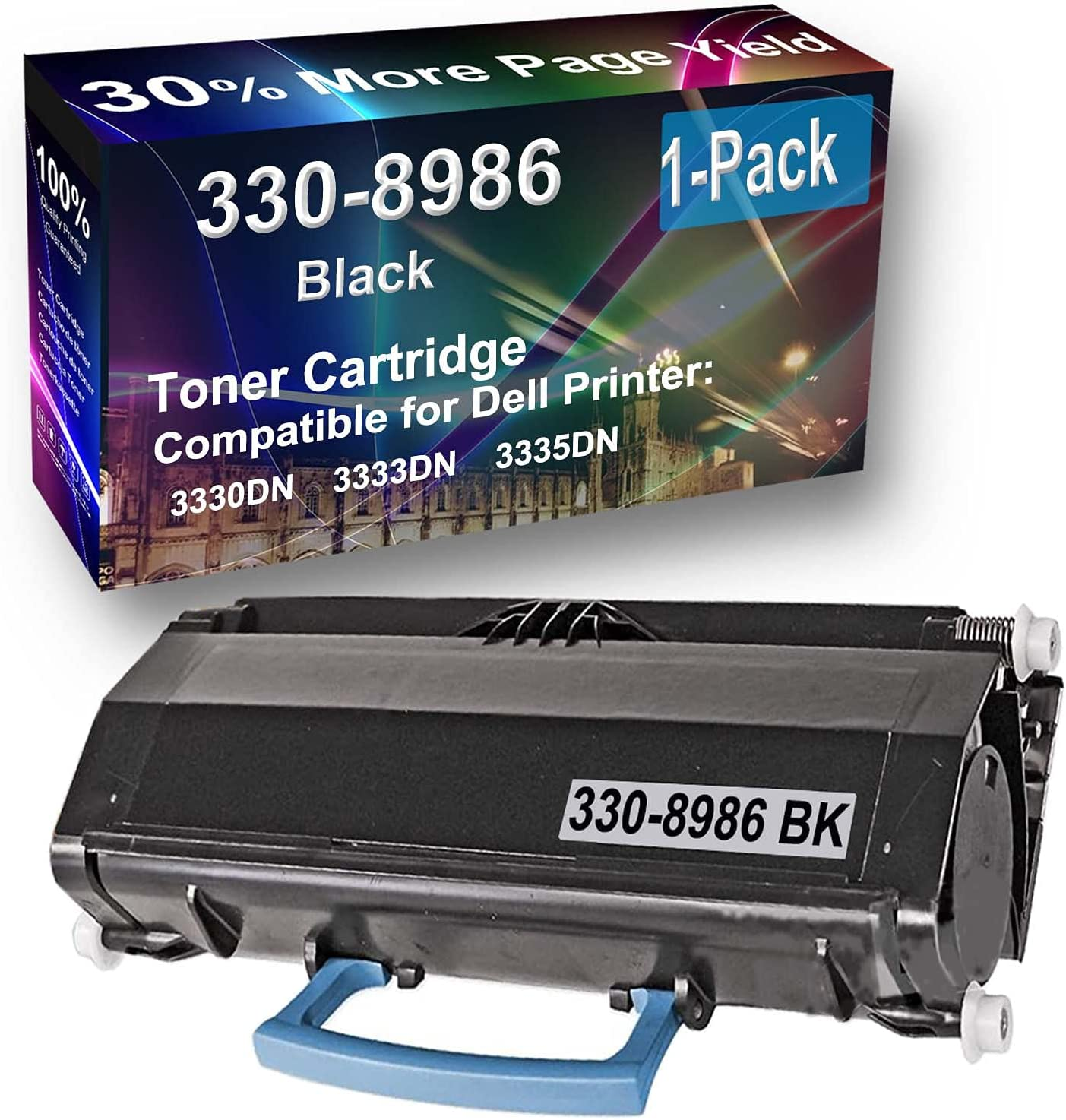 1-Pack Compatible High Capacity 3333DN Printer Toner Cartridge Replacement for Dell 330-8986 (R2PCF 9KH76 YY0JN) Toner Cartridge (Black)