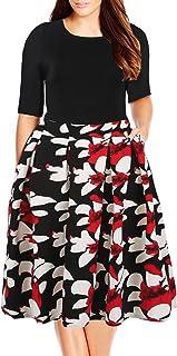 Nemidor Women's Floral Print Vintage Style Plus Size Swing Casual Party Dress