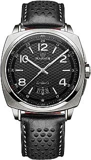 スイス製 Marvin 機械的ムーブメント ステンレスケース 黒色の真皮時計バンド 黒色の文字盤 男性 メンズ 腕時計