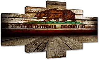 Wooden Wall Decor Rustic American Flag Painting on Canvas Patriotic Concept Home Wall Decor Red Yellow Artwork 5 Panel Multi Piece Rusty Art USA Giclee for Living Room Ready to Hang (60''W x 32''H)