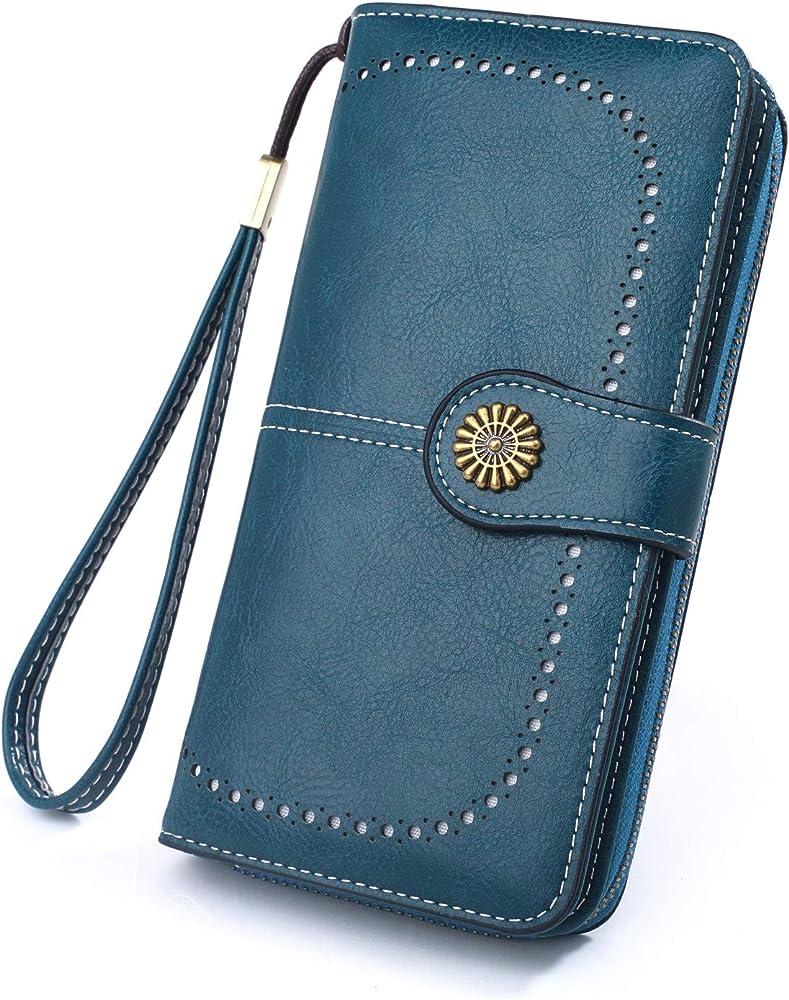 Y yongyuan portafoglio porta carte di credito per donna in ecopelle verde Malachite1