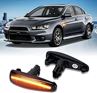 Smoked Lens Sequential Amber LED Side Marker Light Compatible With Mitsubishi Lancer Evo X Mirage Outlander Sport, Powered...