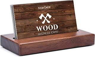 MaxGear Business Card Holder for Desk Wood Business Card Display Holders Professional..
