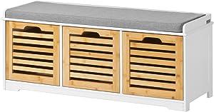 SoBuy® FSR23-WN Banc de Rangement avec Coussin Rembourré et 3 Cubes Meuble d'Entrée Commode à Chaussure Banquette Meuble de Rangement Confortable