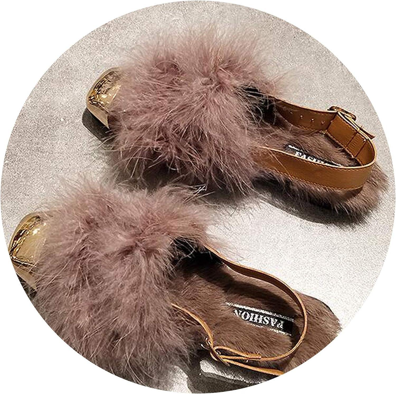 Heat-Tracing Metal Square Toe Rabbit Hair Fur Slippers Ladies Loafers Ankle Strap Buckle Slides Flat Heel Winter Plush shoes Women flip Flops