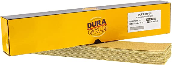 "Dura-Gold - Premium - 40 Grit Gold - Pre-Cut Longboard Sheets 2-3/4"" Wide by 16-1/2"" Long - PSA Self Adhesive Stickyback L..."