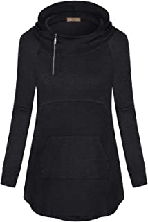 Womens Long Sleeve Zipper Hoodie Sweatshirt with Kangaroo Pocket