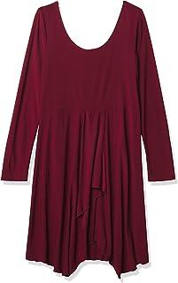 Star Vixen Women's Long Sleeve Ity Knit Fit N Flare Ballet Skater Dress with Cascade Handkerchief Hem