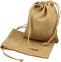 """ToteBagFactory Natural Rustic Chic Burlap Wedding Favor Bags Drawstring Pouch for Gifts, Treats (12, 5"""" x 7"""")"""