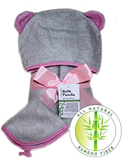 Premium All Natural Bamboo Hooded Bath Towel Gift Set (Grey/Pink) with Free washcloth - Ultra Soft, Super Absorbent, Antibacterial, Hypoallergenic - Baby Shower and Toddler Gifts