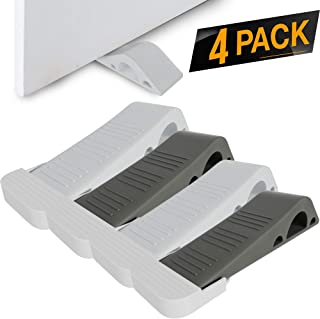 iCooker 4 Pack Door Stopper [RELIABLE AND PRACTICAL] Rubber Door Stop Security Wedge, Flexible, Non-toxic, Longer Lasting Works with ALL FLOOR SURFACE TYPES [EASY INSTALL HINGES WITH BONUS HOLDERS]