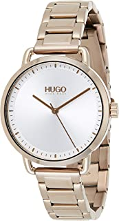 Hugo Boss Women's Silver White Dial Ionic Plated Beige Gold Steel Watch - 1540056