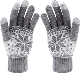 Aibrou Guantes de Navidad Guantes Invierno Mujer Tactiles Pantalla Guantes y manoplas, Una Talla