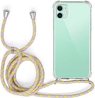 MyGadget Funda Transparente con Cordón para Apple iPhone 11 - Carcasa Cuerda y Esquinas Reforzadas en Silicona TPU - Case y Correa - Amarillo