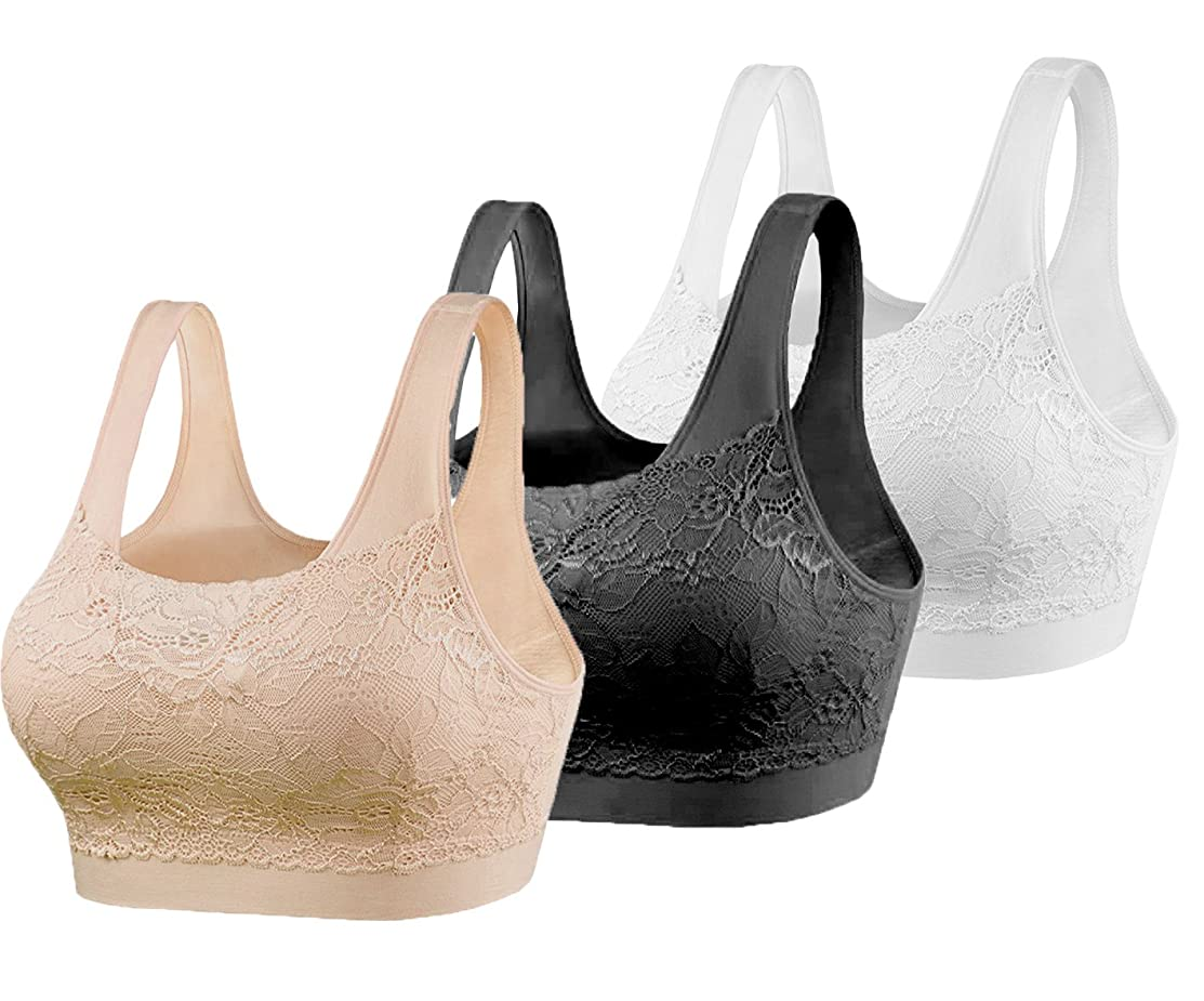 Cabales Women's 3-Pack Lace Cover Sports Bra with Removable Pads