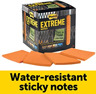 Post-it Extreme Notes, Works outdoors, Works in 0 - 120 degrees Fahrenheit, Sticks where other notes can't, Orange, 3 in x 3 in, 12 Pads/Pack, 45 Sheets/Pad