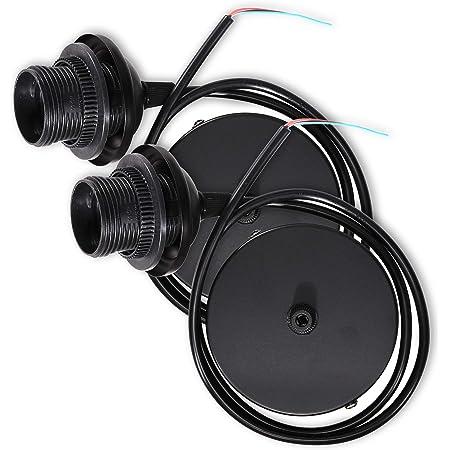 kwmobile 2x câble électrique pour lampe - Câble avec douille E27 et bague de fixation - Monture de suspension pour luminaire plafond - Noir