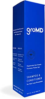 GroMD Doctor-Developed Hair Growth Stimulating Shampoo & Conditioner, 10 oz, DHT Blocking Patented Ingredients, Capixyl, Hairgenyl, Argan Oil, Biotin, Daily Use for Men & Women