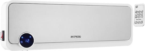 Calefactor de pared, 2000 W, temporizador de 12 horas, mando a distancia, elemento calefactor cerámico, 2 niveles de potencia, posibilidad de montaje en pared, calefactor rápido, mini calefactor
