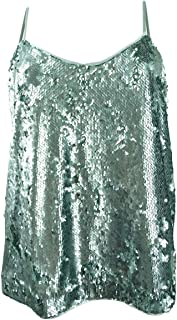Vince Camuto Womens Sequined Sleeveless Cami