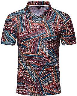 GRMO-Men Summer Hawaiian Lapel Button Down Short Sleeve Beach Shirt