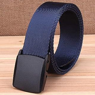 YAOLUU Cinturón de Lona Cinturón de los Hombres Cinturón Liso con Hebilla hipoalergénica y cinturón de Nylon Informal al A...