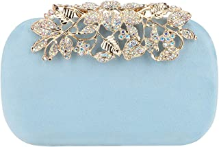 Flower Purse With Rhinestones Velvet Clutch Evening Bags
