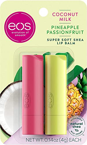 eos Super Soft Shea Lip Balm - Coconut Milk and Pineapple Passionfruit | 24 Hour Hydration | Lip Care to Moisturize D...