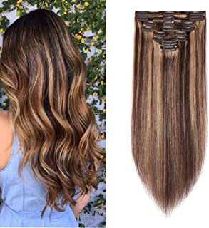 Double Weft 100% Remy Human Hair Clip in Extensions Highlight 14''-22'' Grade 7A Quality Full Head Thick Thickened Long Straight 8pcs 18clips(22