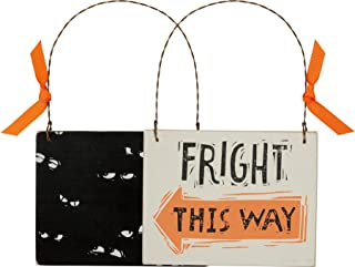 Primitives by Kathy Fright This Way Halloween Ornament 4.5 x 3.5 inches with Hanger