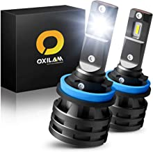 H11 LED Headlight Bulbs, 50W 10000 Lumens 6000K White Extremely Bright, 360 Degrees Illumination OXILAM Mini H11 LED Headlamps, Pack of 2