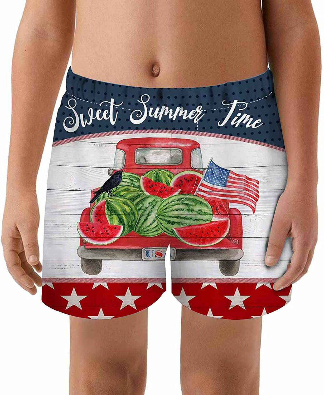 WONDERTIFY Sweet Summer Time Kids Swim Trunks Watermelon On Rustic Red Truck Car American Flag Independence Toddler Beach Shorts Quick Dry Bathing Suit Swimsuit Boy Swimwear Boardshort 5/6T