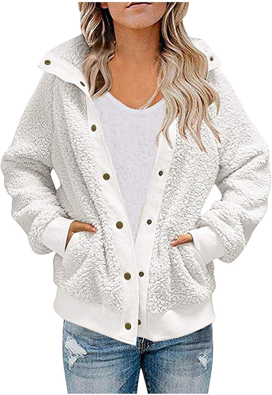FUNEY Women's Fashion Warm Fleece Lapel Button Sherpa Jacket Coat Pockets Long Sleeve Shaggy Oversized Jacket Tops