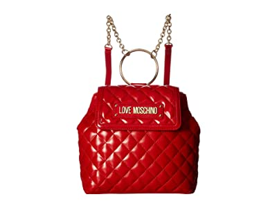 LOVE Moschino Shinny Quilted Backpack (Red) Backpack Bags