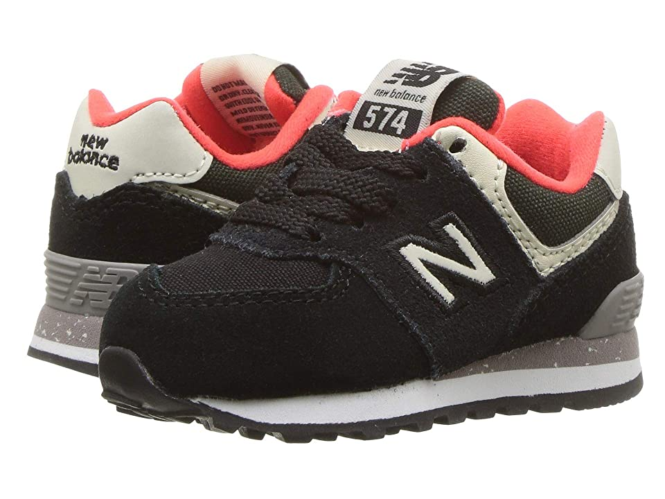 New Balance Kids IC574v1 (Infant/Toddler) (Black/Flame) Boys Shoes