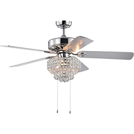 Warehouse Of Tiffany Cfl 8342ch Bryanya 5 Blade 52 Inch Chrome Lighted Crystal Shade Optional Remote Ceiling Fan Silver