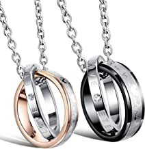 "His & Hers Matching Set Titanium Stainless Steel Couple ""Heart Beat Chart"" Pendant Necklace in a Gift Box"