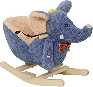Kinfant Kids Plush Ride On Rocking Horse, Sturdy Wooden Constructure with 32 Songs, Perfect Birthday Children's Day Gifts ...