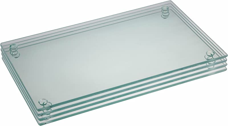9 75 X 6 Inch Rectangle Glass Cutting Board Bundle By Clever Chef 4 Non Slip Shatter Resistant Durable Stain Resistant And Dishwasher Safe
