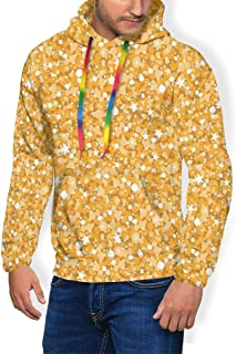 Men's Hoodie Thicken Fluff Sweatshirt,Goldfinch Pattern with Rowan Berry and Seasonal Foliage Leaves Autumn Flora and Fauna